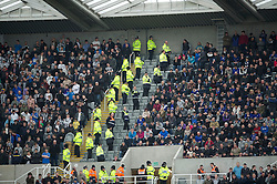 NEWCASTLE, ENGLAND - Saturday, March 5, 2011: Police and stewards form a buffer zone between Newcastle United and Everton supporters during the Premiership match at St. James' Park. (Photo by David Rawcliffe/Propaganda)