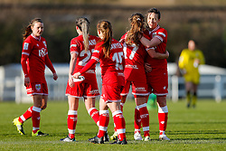 Corinne Yorston and Tatiana Pinto celebrate after Bristol City Women win the match 7-1 - Mandatory byline: Rogan Thomson/JMP - 14/02/2016 - FOOTBALL - Stoke Gifford Stadium - Bristol, England - Bristol City Women v Queens Park Rangers Ladies - SSE Women's FA Cup Third Round Proper.