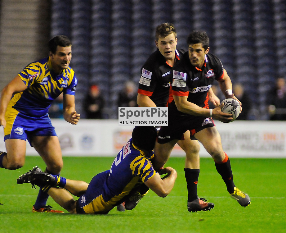 Phil Burleigh is stopped by Tommaso Castello during the Edinburgh Rugby v Zebre Guinness PRO12 game, ......(c) COLIN LUNN | SportPix.org.uk