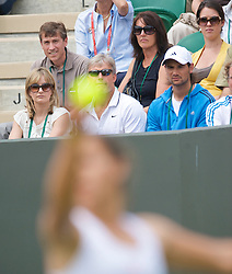 LONDON, ENGLAND - Monday, June 22, 2009: Kathy Robson watches her daughter, Laura, serve during her 6-3, 4-6, 2-6 defeat during the 1st Round of the Ladies' Singles on day one of the Wimbledon Lawn Tennis Championships at the All England Lawn Tennis and Croquet Club. (Pic by David Rawcliffe/Propaganda)