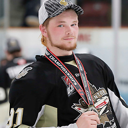 TRENTON, ON  - MAY 6,  2017: Canadian Junior Hockey League, Central Canadian Jr. &quot;A&quot; Championship. The Dudley Hewitt Cup Championship Game between The Trenton Golden Hawks and The Georgetown Raiders. Mac Lewis #91 of the Trenton Golden Hawks during post game celebrations. <br /> (Photo by Amy Deroche / OJHL Images)