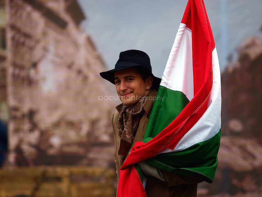An actor during the reenactment of a classic scene of the 1956 revolution, Budapest, Hungary.