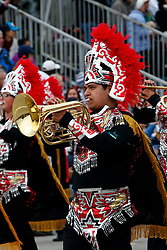 Musician in a marching band on the route of the 2017 Tournament of Roses Parade, Rose Parade, Pasadena, California, United States of America