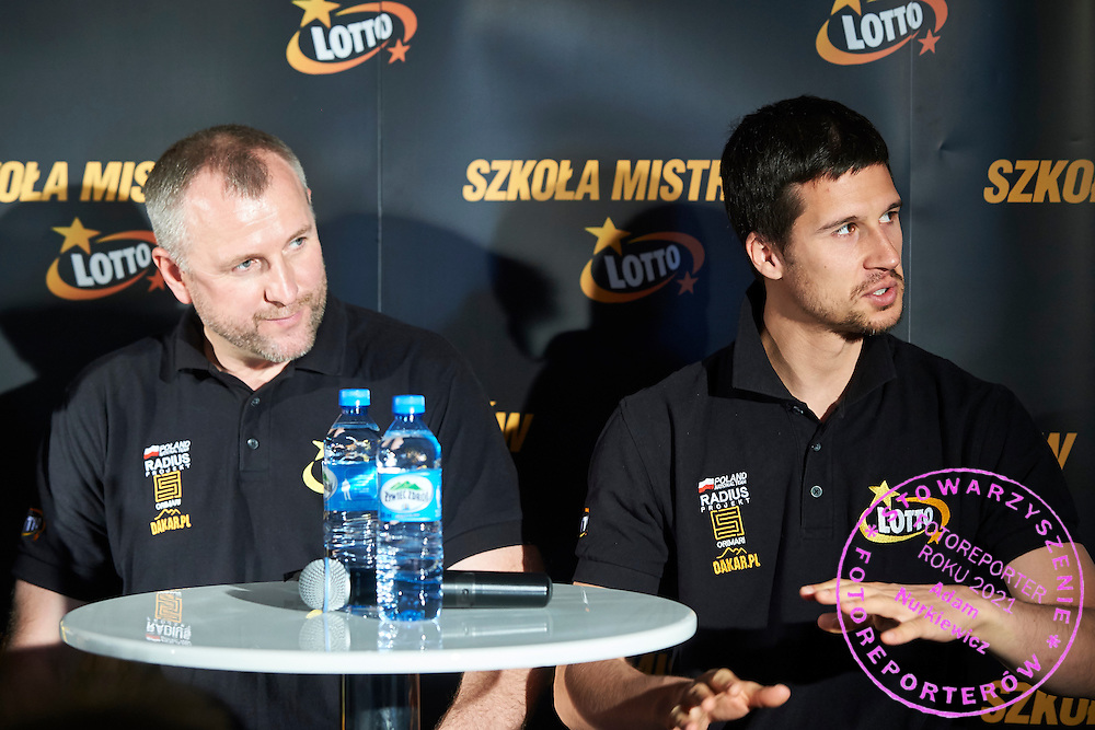 Drivers (L) Jaroslaw Kazberuk and (R) Robin Szustkowski both from Poland while press conference during training session on rally cross track on May 19, 2015 in Slomczyn, Poland<br /> <br /> Poland, Slomczyn, May 19, 2015<br /> <br /> Picture also available in RAW (NEF) or TIFF format on special request.<br /> <br /> For editorial use only. Any commercial or promotional use requires permission.<br /> <br /> Adam Nurkiewicz declares that he has no rights to the image of people at the photographs of his authorship.<br /> <br /> Mandatory credit:<br /> Photo by &copy; Adam Nurkiewicz / Mediasport