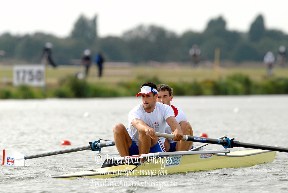 Eton, GREAT BRITAIN,  GBR M2- Bow Colin SMITH and Tom JAMES,  2006 World Rowing Championships, 19/08/2006.  Photo  Peter Spurrier, © Intersport Images,  Tel +44 [0] 7973 819 551,  email images@intersport-images.com , Rowing Courses, Dorney Lake, Eton. ENGLAND