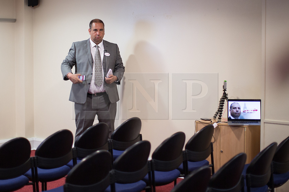 © Licensed to London News Pictures . 08/08/2016 . Manchester , UK . UKIP Councillor BILL ETHERIDGE launches his campaign to be the leader of UKIP at the Manchester Conference Centre . The leadership contest follows the resignation of Nigel Farage . Etheridge is supported by UKIP defence spokesman Mike Hookem MEP . Photo credit : Joel Goodman/LNP