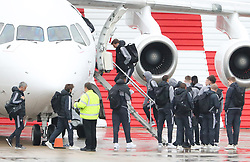 Victor Lindelof, Jesse Linagrd and Jose Mourinho as the Manchester United team fly to Wales on Tuesday morning for their Carabao Cup match against Swansea City