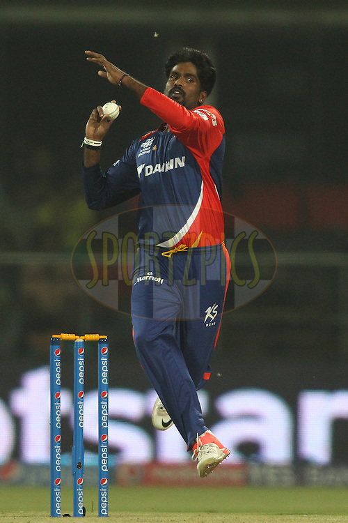 Domnic Joseph Muthuswamy of the Delhi Daredevils sends down a delivery during match 21 of the Pepsi IPL 2015 (Indian Premier League) between The Delhi Daredevils and The Mumbai Indians held at the Ferozeshah Kotla stadium in Delhi, India on the 23rd April 2015.<br /> <br /> Photo by:  Shaun Roy / SPORTZPICS / IPL
