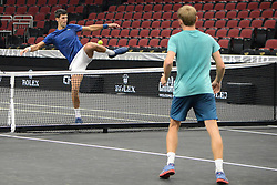 September 20, 2018 - Chicago, Illinois, United States - Members of Team Europe having some fun in advance of the 2018 Laver Cup tennis event in Chicago. (Credit Image: © Christopher Levy/ZUMA Wire)