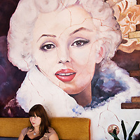 A wall mural decorates a wall of a Vladivostok cafe.