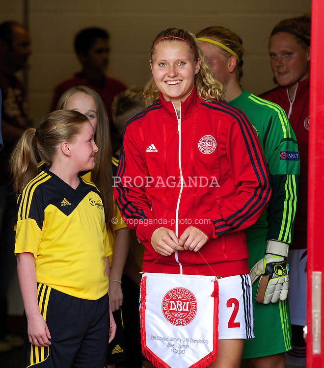 LLANELLI, WALES - Monday, August 19, 2013: Denmark's captain Mie Jans before the opening Group A match of the UEFA Women's Under-19 Championship Wales 2013 tournament against Wales at Parc y Scarlets. (Pic by David Rawcliffe/Propaganda)