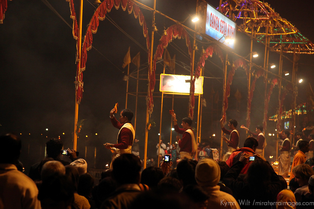 Asia, India, Varanasi. The evening prayer ritual draws crowds every night to the ghats of Varanasi on the Ganges River.