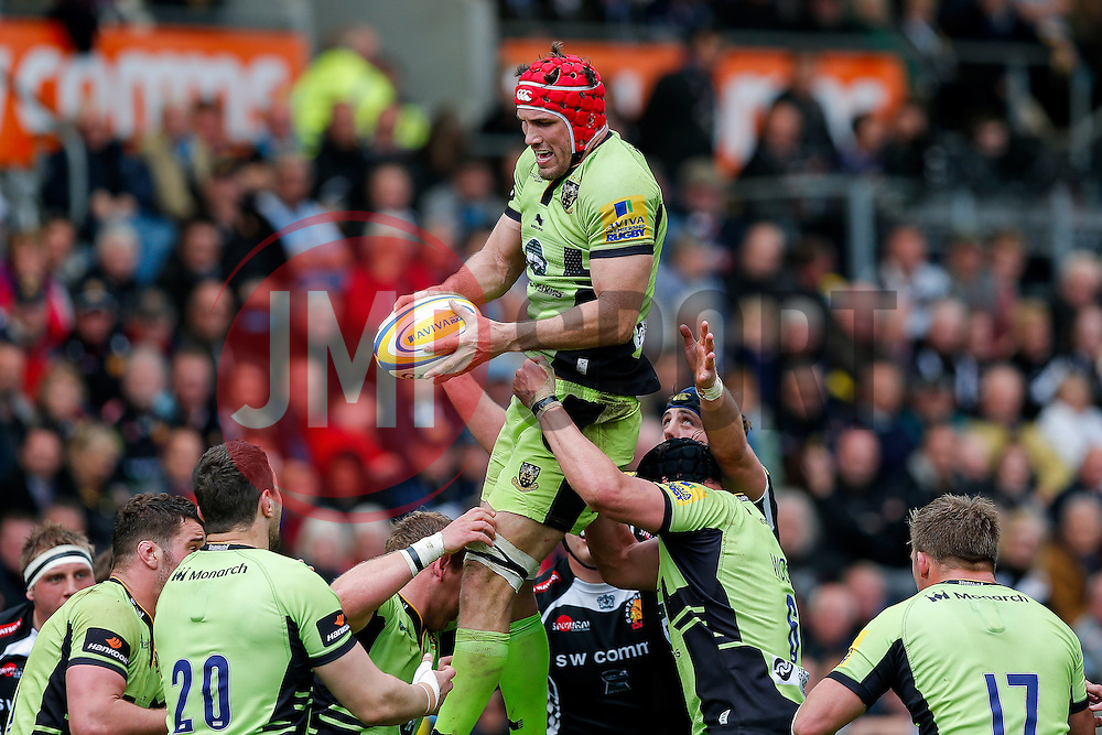 Northampton Lock Christian Day wins a lineout - Photo mandatory by-line: Rogan Thomson/JMP - 07966 386802 - 11/04/2015 - SPORT - RUGBY UNION - Exeter, England - Sandy Park Stadium - Exeter Chiefs v Northampton Saints - Aviva Premiership.