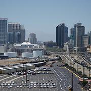San Diego skyline from Coronado bridge. San Diego, CA.