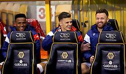 Niclas Eliasson, Jamie Paterson and Matty Taylor of Bristol City share a joke - Mandatory by-line: Robbie Stephenson/JMP - 12/09/2017 - FOOTBALL - Molineux - Wolverhampton, England - Wolverhampton Wanderers v Bristol City - Sky Bet Championship