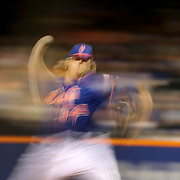Pitcher Noah Syndergaard, New York Mets, pitching during the New York Mets Vs Arizona Diamondbacks MLB regular season baseball game at Citi Field, Queens, New York. USA. 10Th July 2015. Photo Tim Clayton