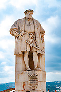 Statue of King Dom Joao III (1502 - 1557) in the Patio das Escoles courtyard square of the University of Coimbra, Coimbra, Portugal