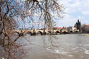 Prague, Czech Republic Bridge on the Vltava River