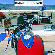 Red Motorcycle at the Bagaduce Lunch take-out in Penobscot, Maine