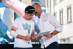 Primoz Roglic and president of Slovenia cycling Tomaz Grm during reception of slovenian rider Primoz Roglic after Tour de France 2018 on August 6, 2018 in Ljubljana, Slovenia. Photo by Urban Meglic / Sportida