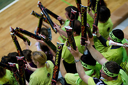 Macola, Fans of Kropa during volleyball match between ACH Volley Bled and UKO Kropa at final of Slovenian National Championships 2011, on April 27, 2011 in Arena SGTS Radovljica, Slovenia. ACH Volley defeated Kropa 3-0 and became Slovenian National Champion 2011. (Photo By Vid Ponikvar / Sportida.com)
