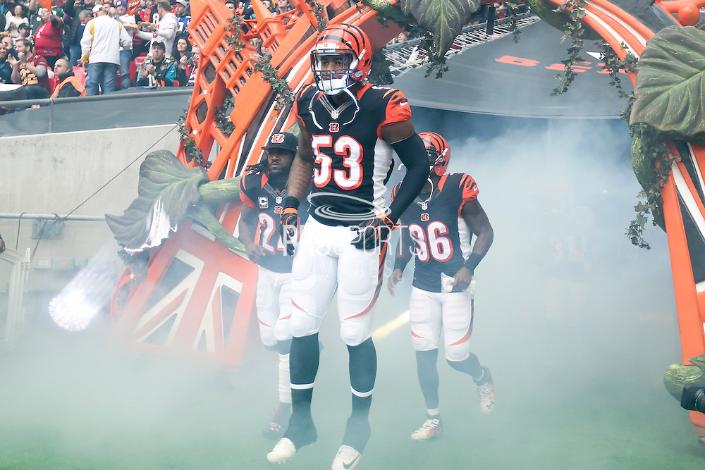 Marquis Flowers of Cincinnati Bengals enters Wembley Stadium during the International Series match between Washington Redskins and Cincinnati Bengals at Wembley Stadium, London, England on 30 October 2016. Photo by Jason Brown.