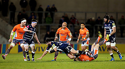 Mark Jennings of Sale Sharks is tackled - Mandatory by-line: Matt McNulty/JMP - 10/02/2017 - RUGBY - AJ Bell Stadium - Sale, England - Sale Sharks v Newcastle Falcons - Aviva Premiership