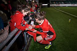 NEWPORT, WALES - Thursday, April 4, 2019: Wales' Hayley Ladd signs autographs for supporters after an International Friendly match between Wales and Czech Republic at Rodney Parade. The game ended in a 0-0 draw. (Pic by David Rawcliffe/Propaganda)
