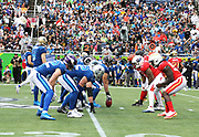 Jan 28, 2018; Orlando, FL, USA; An overall view of the line of scrimmage between the AFC and the NFC in the 2018 NFL Pro Bowl at Camping World Stadium. The AFC defeated the NFC 24-23. (Steve Jacobson/Image of Sport)