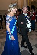 Staatsbezoek Denemarken - Dag 1. Staatsbanket in Paleis Christiansborg<br /> <br /> State visit Denmark - Day 1. State Banquet in Christiansborg Palace<br /> <br /> Op de foto / On the photo:  Prins Henrik en Koningin Maxima / Prince Henrik en Queen  Maxima