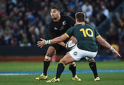 JOHANNESBURG, South Africa, 25 July 2015 : Lima Sopoaga of the All Blacks is stopped by Handré Pollard of the Springboks during the Castle Lager Rugby Championship test match between SOUTH AFRICA and NEW ZEALAND at Emirates Airline Park in Johannesburg, South Africa on 25 July 2015. Bokke 20 - 27 All Blacks<br /> <br /> © Anton de Villiers / SASPA