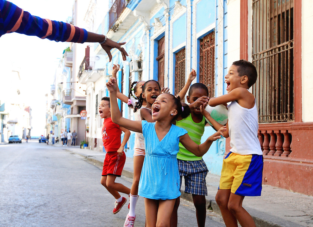 Young school children congregate on the streets of Old Havana, Cuba, in preparation for their early morning exercise.<br /> Compulsory physical activity begins in kindergarten. Former Cuban President Fidel Castro expressed that sports should be &ldquo;the right of the people,&rdquo; not the right of the wealthy.