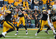 September 17, 2011: Iowa Hawkeyes quarterback James Vandenberg (16) looks to pass during the first half of the game between the Iowa Hawkeyes and the Pittsburgh Panthers at Kinnick Stadium in Iowa City, Iowa on Saturday, September 17, 2011. Iowa defeated Pittsburgh 31-27.