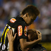 Young Brazilian player Neymar congratulates Zé Eduardo who scored a hat trick for Santos, during the Fluminense V Santos, Futebol Brasileirao  League match in Rio de Janeiro, Santos won the match 3-0. Rio de Janeiro Brazil. 6th October 2010. Photo Tim Clayton