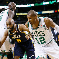 14 November 2012: Boston Celtics shooting guard Leandro Barbosa (12) drives past Utah Jazz point guard Jamaal Tinsley (6) on a screen set by Boston Celtics power forward Kevin Garnett (5) during the Boston Celtics 98-93 victory over the Utah Jazz at the TD Garden, Boston, Massachusetts, USA.