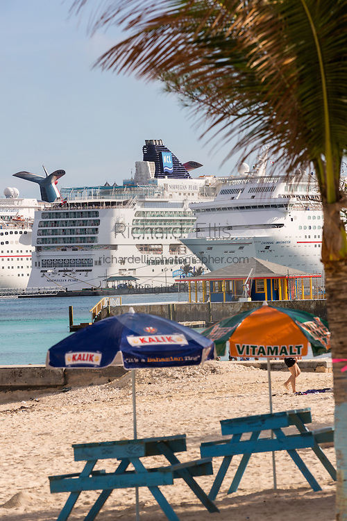 Cruise ships seen from Junkanoo Beach, Nassau, Bahamas, Caribbean