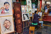 Chine, province du Shaanxi, ville de Xi'an, dessinateur de caricature // China, Shaanxi province, Xian, caricature shop