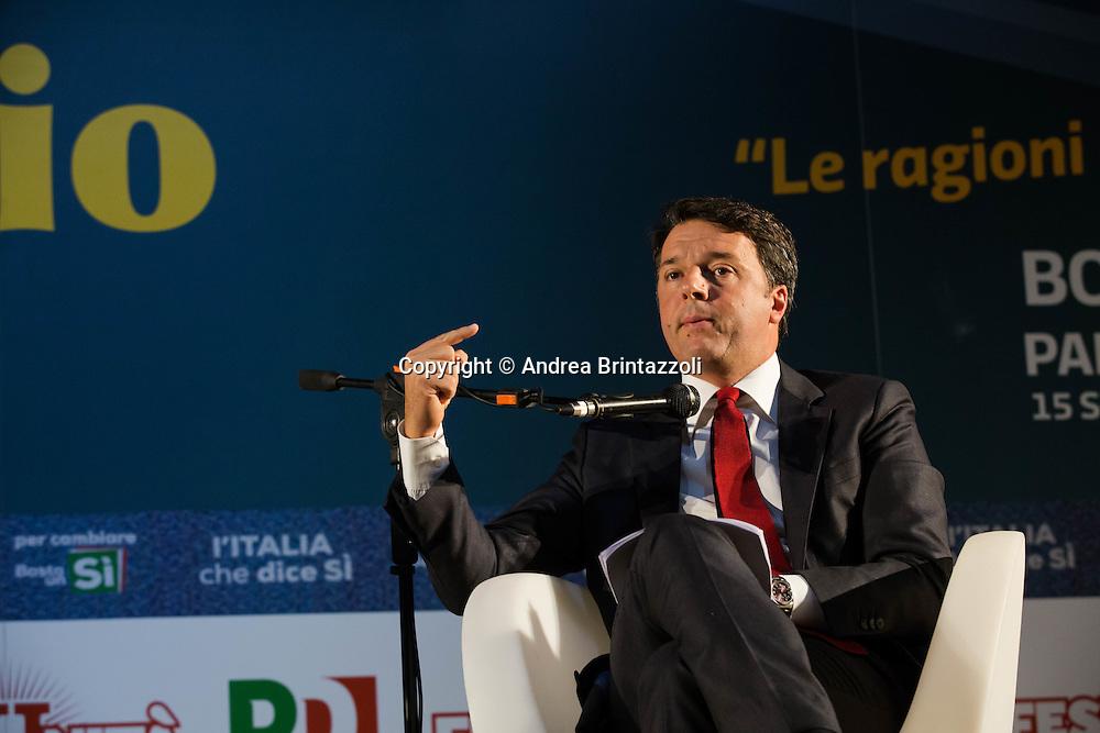 Bologna 15/09/2016 &ldquo;Le ragioni del SI e del NO&rdquo; Confronto tra Matteo Renzi Presidente del Consiglio e Carlo Smuraglia Presidente ANPI<br /> Nella Foto: Matteo Renzi Presidente del Consiglio