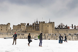 Wintery scenes as snow arrives at the Tower Of London. London, March 02 2018.