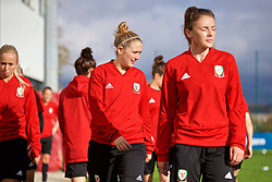 NEWPORT, WALES - Tuesday, November 6, 2018: Wales' Cori Williams and Chloe Williams during a training session at Dragon Park ahead of two games against Portugal. (Pic by Paul Greenwood/Propaganda)