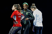 Caroline Joyeux (Germany), Yarianny Arguelles (Cuba) and Maryna Bekh-Romanchuk (Ukraine), long jump, during the 6th ISTAF Indoor Meeting at Berlin Mercedez Benz Arena, Berlin, Germany on 1 February 2019.