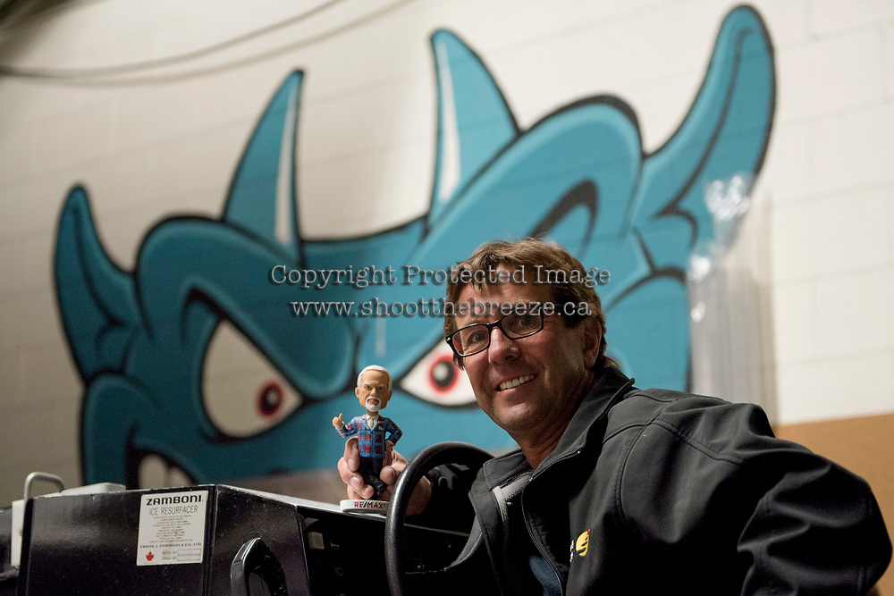 KELOWNA, CANADA - MARCH 10: Don Cherry bobble head stands on the Zamboni  on March 10, 2018 at Prospera Place in Kelowna, British Columbia, Canada.  (Photo by Marissa Baecker/Shoot the Breeze)  *** Local Caption ***