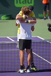 April 1, 2018 - Key Biscayne, Florida, United States Of America - KEY BISCAYNE, FL - APRIL 01: John Isner (USA) defeats Alexander Zverev (GER) 67(4) 64 64 in the Mens Final at the Miami Open held at the Crandon Park Tennis Center on April 1, 2018 in Key Biscayne, Florida...People:  John Isner, Alexander Zverev. (Credit Image: © SMG via ZUMA Wire)