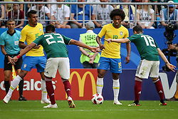 July 2, 2018 - Samara, Vazio, Russia - Mehdi Carcela and Amine Harit from Morocco, Paulo Henrique Sampaio Filho and Willian Borges da Silva from Brazil during a match between Brazil and Mexico valid for the eighth round of World Cup 2018 finals, held at Arena Samara, Russia (Credit Image: © Thiago Bernardes/Pacific Press via ZUMA Wire)