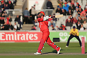 Lancashires Jordan Clark during the Vitality T20 Blast North Group match between Lancashire Lightning and Birmingham Bears at the Emirates, Old Trafford, Manchester, United Kingdom on 10 August 2018.