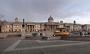National Gallery, founded 1824, housing the national collection of paintings to 1900, on Trafalgar Square, opened 1844, designed by John Nash, 1752-1835, with fountains designed by Edwin Lutyens, 1869-1944, in Westminster, London, England, UK. The original National Gallery was designed and built 1832-38 by William Wilkins, 1778-1839, and was extended by James Pennethorne, 1801-71, and Charles Barry, 1795-1860, with the addition of the Sainsbury Wing by Robert Venturi, b. 1925, and Denise Scott Brown, b. 1931, in 1991. On the left is Thumbs Up, a sculpture on the fourth plinth (which houses temporary installations) by David Shrigley, b. 1968. Picture by Manuel Cohen