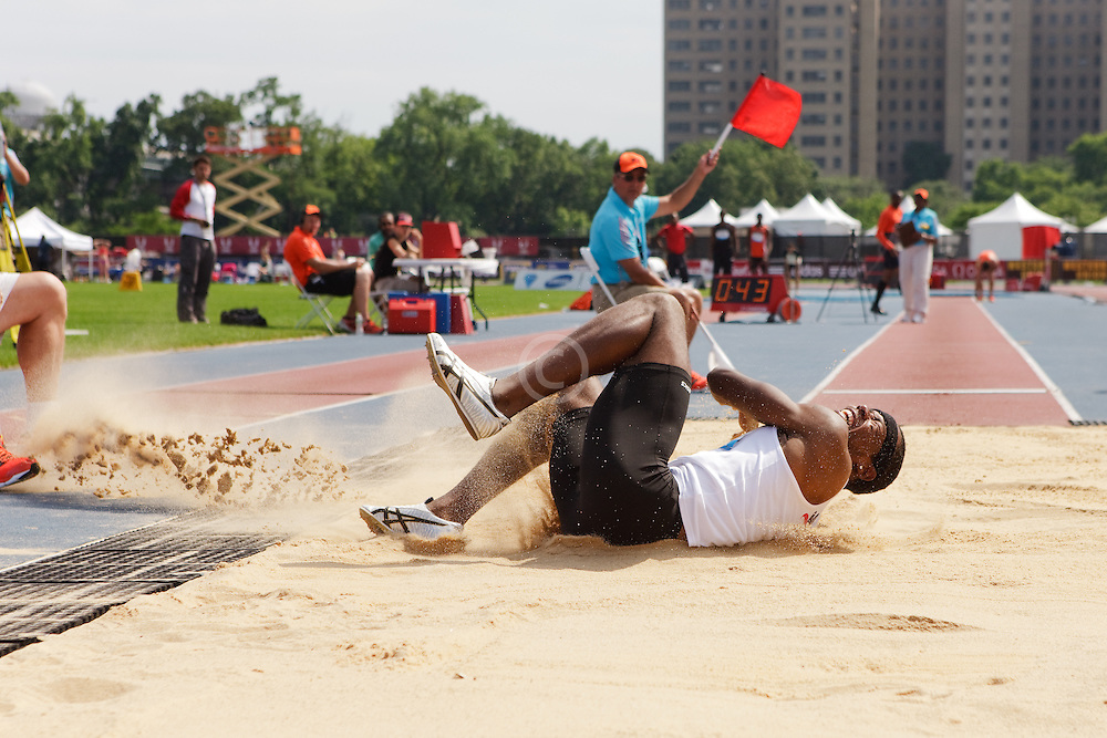 Samsung Diamond League adidas Grand Prix track & field; men's long jump, Nafee Harris, USA, injured on jump