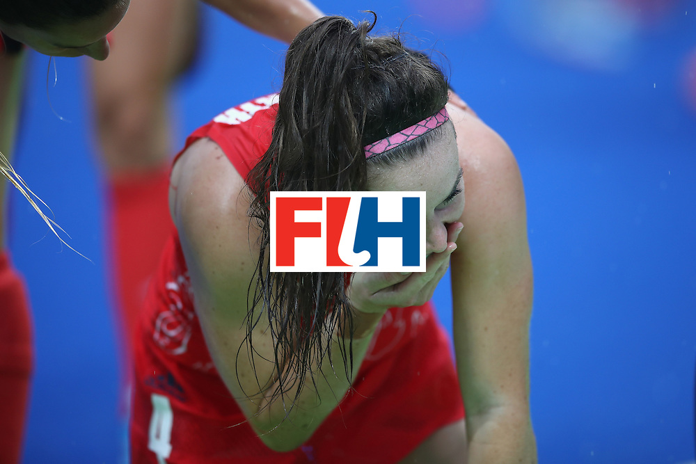 RIO DE JANEIRO, BRAZIL - AUGUST 10:  Laura Unsworth of Great Britain holds her chin during the women's pool B match between Great Britain and Argentina on Day 5 of the Rio 2016 Olympic Games at the Olympic Hockey Centre on August 10, 2016 in Rio de Janeiro, Brazil.  (Photo by Mark Kolbe/Getty Images)