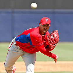 March 4, 2012; Tampa Bay, FL, USA; Philadelphia Phillies pitcher Joel Pineiro (39) during spring training game at George M. Steinbrenner Field. Mandatory Credit: Derick E. Hingle-US PRESSWIRE