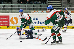 20.02.2015, Curt-Frenzel-Stadion, Augsburg, GER, DEL, Augsburger Panther vs EHC Red Bull München, 49. Runde, im Bild l-r: im Zweikampf, Aktion, mit Greg Moore #26 (Augsburger Panther) und Francois Methot #38 (EHC Red Bull Muenchen), Daniel Weiss #57 (Augsburger Panther) // during Germans DEL Icehockey League 49th round match between Adler Mannheim and Grizzly Adams Wolfsburg at the Curt-Frenzel-Stadion in Augsburg, Germany on 2015/02/20. EXPA Pictures © 2015, PhotoCredit: EXPA/ Eibner-Pressefoto/ Kolbert<br /> <br /> *****ATTENTION - OUT of GER*****